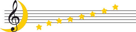 musical staff with stars notes and moon, moonlight sonata