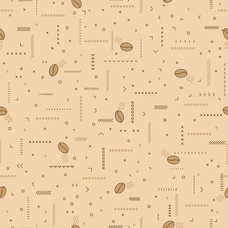 Coffe pattern with coffee beans and ornaments.Seamless vector illustration on a beige background. For wrapping paper, wallpaper, fabrics, backgrounds. 矢量图像