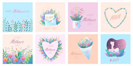 Mothers Day. Set of greeting cards. Vector illustration with flowers, hearts, mom and baby, letter. For cards, stickers, banners. For your holidays. On gentle pastel backgrounds. Vectores