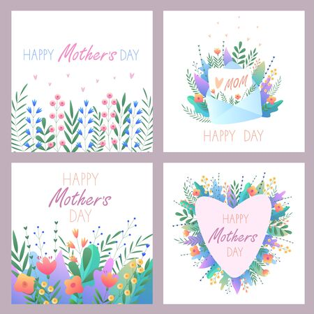 Mother's Day.Set of greeting cards. Vector illustration with flowers, hearts,letter and beautiful text. For postcards, stickers, banners. For your happy holiday. On an isolated white background. Vector Illustration