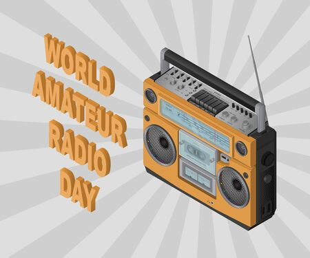 World Amateur Radio Day, April 18th. Isometric .Vector illustration for you with text.For design, greeting card, banner, poster and calendar. On a gray background.