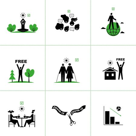 Set of vector icons of end of quarantine, virus epidemic,coronavirus. Victory over Covid-19.Epidemic reduction graphs, permitting signs, freedom of movement on the street. For infographics, websites.