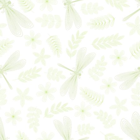 Dragonfly, leaves, flowers, twigs seamless pattern. Hand drawn doodle. Vector illustration on a white background. For fabrics, wrapping paper. Vectores