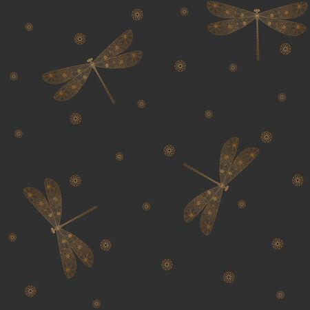 Golden dragonfly silhouette seamless pattern. Hand drawn doodle. Linear style. Decorative insects. Vector illustration on a gray background. For fabrics, wrapping paper. Vectores