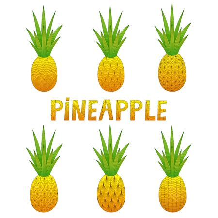 A set of pineapples. Doodle. Colorful vector illustration. Hand-drawn. Isolated on a white background. Decorative pineapples for your design.