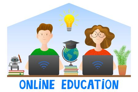 Education online. Children study at home at the computer. Vector illustration, cartoon style. Quarantine. Distance learning on the Internet. Video tutorials. Vettoriali