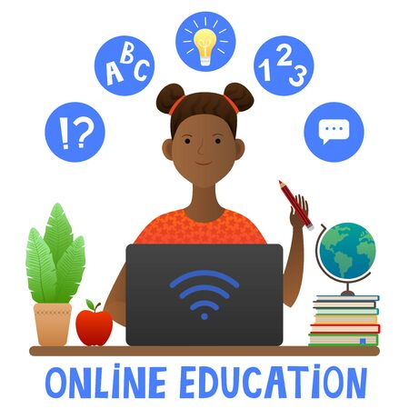 Online learning. African american girl at the computer. The concept of home schooling on the Internet. Courses, online lessons. Vector illustration in cartoon style. Quarantine. New opportunities. Ilustración de vector