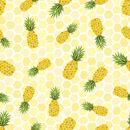 Pineapples seamless pattern. Hand-drawn. Tropical vector fruits. Doodle. Geometric ornament. Decorative elements. For textiles and fabrics, wallpapers and wrapping paper.