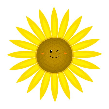 Funny sunflower in cartoon style. Vector illustration on a white background. For your design of cards, posters, patterns, printing on t-shirts, mugs, avatars. Ilustración de vector
