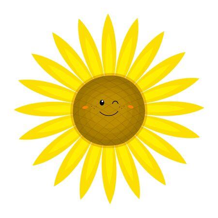 Lustige Sonnenblume im Cartoon-Stil. Vektorillustration auf weißem Hintergrund. Für Ihr Design von Karten, Postern, Mustern, Druck auf T-Shirts, Tassen, Avatare. Vektorgrafik