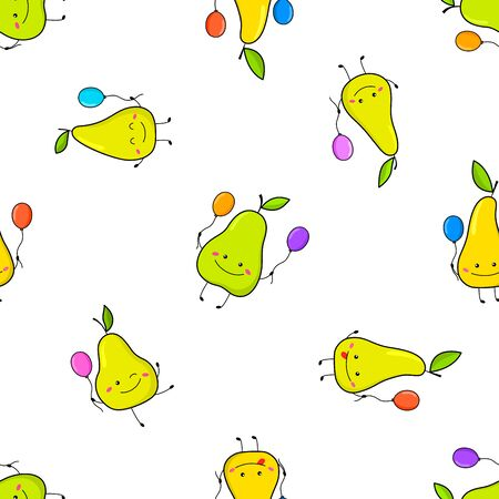 Seamless pattern with funny pears. In cartoon style. Vector illustration with cute fruits. For children's fabrics, wrapping paper. On a white background.