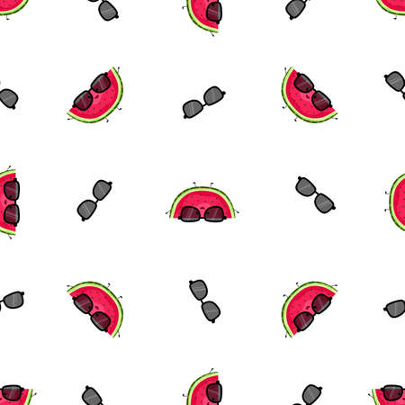 Cute watermelons seamless pattern. Cartoon vector illustration. Funny fruits with smiles. Bright summer print. For postcards, textiles, notebooks, backgrounds. Ilustração