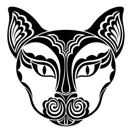 Cat. Vector decorative animal head. Suitable for Halloween celebration. Black and white hand drawn tattoo. Stylized graphics for t-shirts, postcards, textiles. Isolated on white background. Vektorové ilustrace