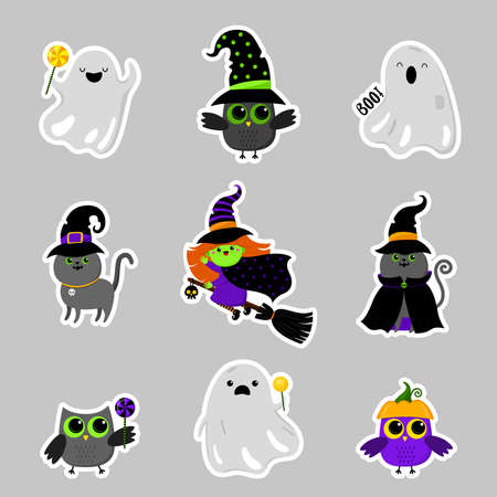 Set of cute Halloween characters stickers. Vector. Cartoon style. Kawaii. Festive symbols, costumes. Trick or treat. Funny illustration. For postcards, posters, flyers. Isolated on gray background.