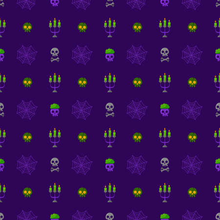 Halloween skulls vector pattern with candles. Cartoon style. Kawaii. Trick or treat. Cute holiday symbol. Funny illustration. For fabric, textile, postcards, posters, backgrounds and wrapping papers.