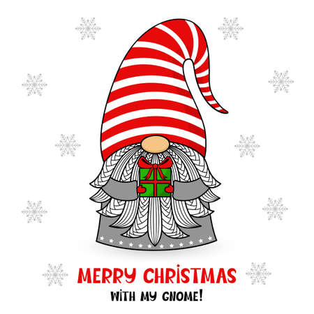 Cartoon Christmas gnome in a hat with gift and text. Vector character with beard and snowflakes. Holiday and new year symbol. Cute illustration. For postcards, invitations, flyers. 矢量图像