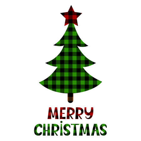 Christmas tree with plaid ornament. Holiday phrase. Vector illustration. Checkered pattern. Isolated on white background. For card, invitation, sublimation t shirts, pillows, mugs.