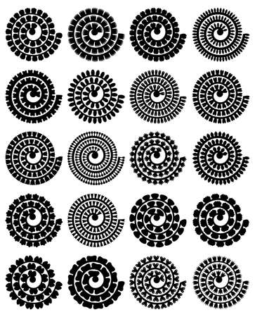 Rolled paper flower. Vector set. 3d paper cut template. Isolated on white background. For wedding design, birthday card, Mothres Day, Easter. Flowers black silhouettes for plotter cutting.