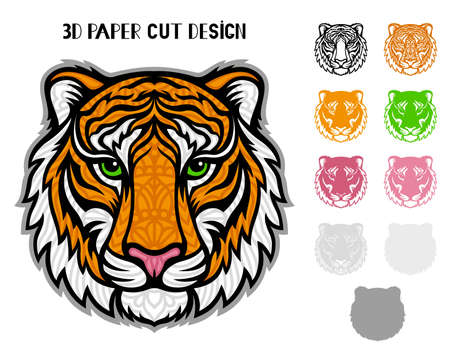 3D Tiger. Symbol 2022 New Year. Vector layered template for laser and paper cutting, printing on a T-shirt, mug. Animal silhouette.Flat style. Hand drawn decorative element for your design.