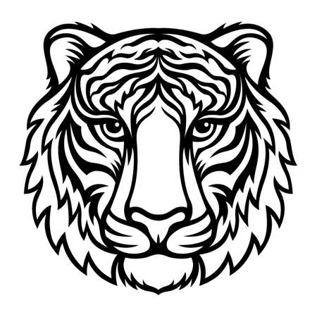 Tiger.Black vector silhouette. Symbol 2022 New Year. Template for laser and paper cutting, printing on a T-shirt, mug. Animal silhouette. Flat style. Hand drawn decorative element for your design.