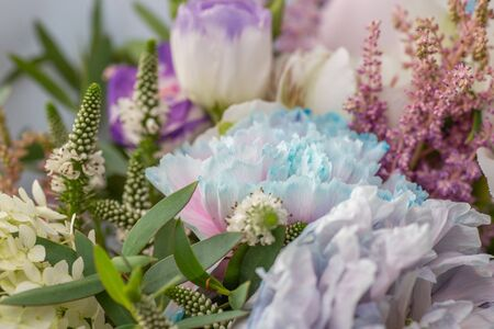 Beautiful bouquet of natural blue and purple flower, background