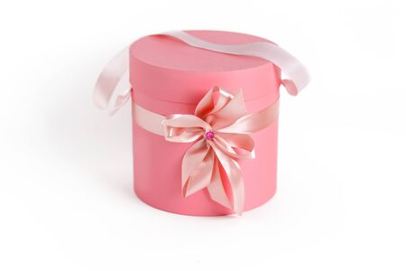 pink gift boxes in round shape isolated Stock Photo
