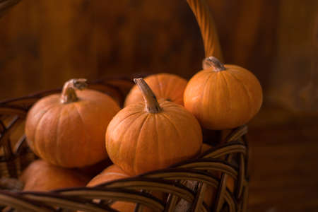 Autumn small orange pumpkin on a wooden table, the harvest, the symbol of Halloween.