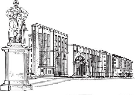 glazing: city town building  monument  building  vector  schedule  drawing   black  chapel   expensive Illustration