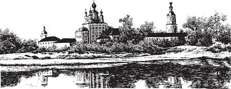 reservoir: monastery; architecture; nature; church; reservoir; summer; religion; building