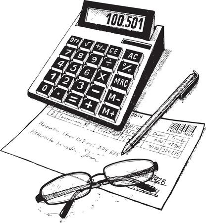 회계 계산기 비즈니스 고려해야 확인 마련 추정 핸들 보고서 포인트 이익 벡터 검은 도면을 작성 일러스트