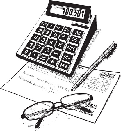 estimate: bookkeeper calculator  business   consider  check   write   laid   estimate   handle   report  points  profit   vector  black  drawing  Illustration