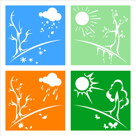 thaw: vector, season, nature, whinter, spring, summer, autumn, weather, tree