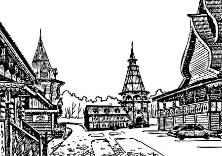 long term: beautiful wooden buildings in the long term. drawing ink on paper Illustration