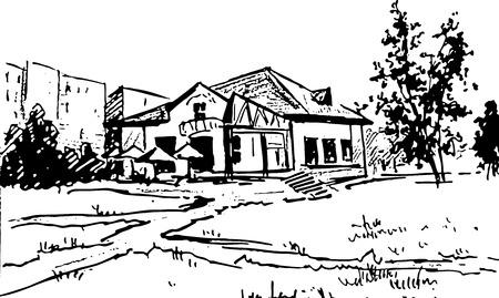 long term: la construcci�n en las calles a largo plazo de dibujo de tinta sobre papel