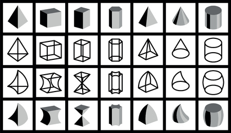 distortion: geometrical figuresvector lattice grid black gray white distortion subjecttriangle square oval rectangle circle cube trapeze parallelepiped prism cone cylinder