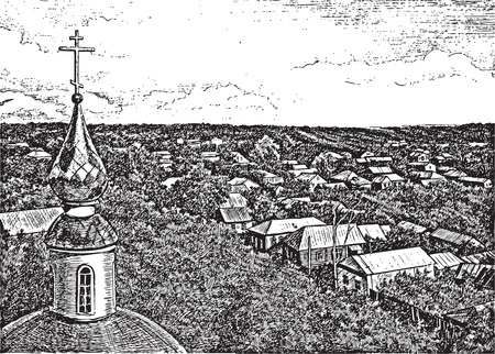 orthodoxy:  top view image  sketch sat down  village  dome Orthodoxy  cross belief  panorama  house old building  Illustration