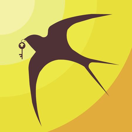 housewarming: swallowvector sun sky key housewarming houseconstruction