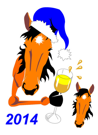 ear drop: horse New Yearanimal housevector  head  muzzle  blue orange white glass champagne  holiday note drops splashes  cap 2014