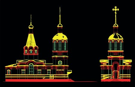 orthodoxy: church religion  Orthodoxy  temple  drawing  black  vector  building  cross  dome  belief  Illustration