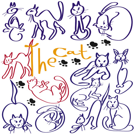 many cats made with the stroke of a white background Stock Vector - 23726787