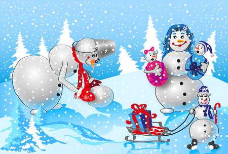 famiglia numerosa: grande famiglia di pupazzi di neve in natura sfondo invernale. nevica. Papa fa nuovo pupazzo di neve