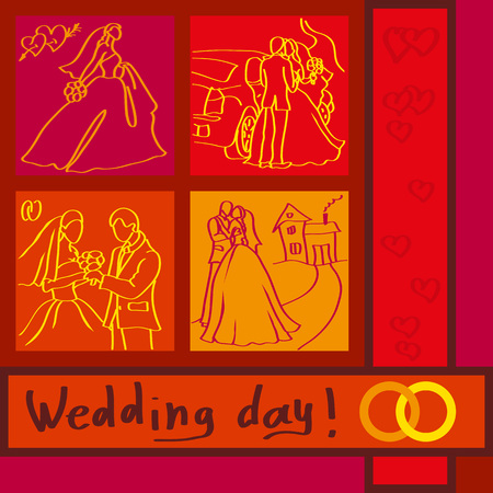 Postcard depicting the four rectangles with fragments of the wedding day. Vector