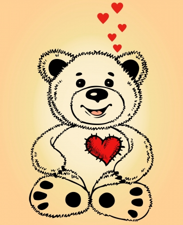 Toy teddy bear sitting. On his chest red heart. He is in love. Illustration