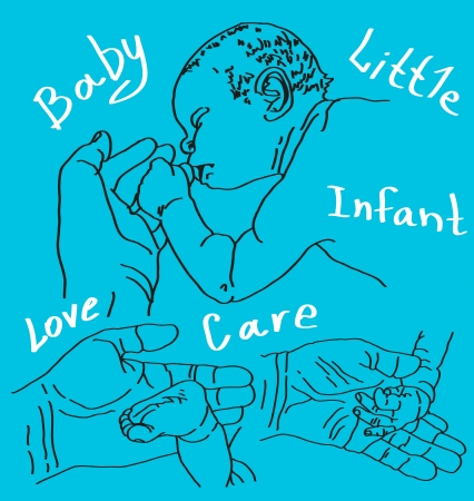 sleeps: Picture of baby hand with adult, arms and legs of the baby.