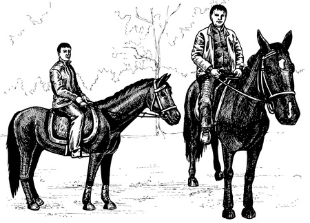 dobbin: Image of two angles horse with a rider. Drawing on paper.