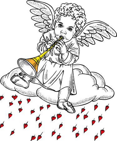 fife: picture of a small Cupid who plays the flute. Drawing on paper.