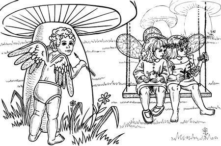 oversee: picture of a small Cupid who oversees two girls fairies. Drawing on paper. Illustration