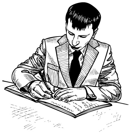 Image of a man who signs the document. Drawing on paper. Stock Vector - 25327074