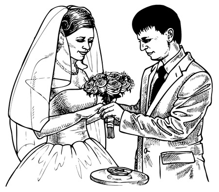 conclude: Picture of the bride and groom exchange rings that. Drawing on paper. Illustration