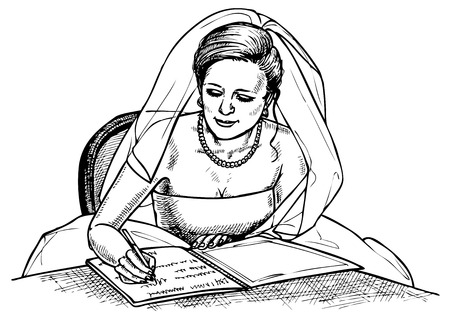 conclude: Image of a bride in a veil which is painted. Drawing on paper.